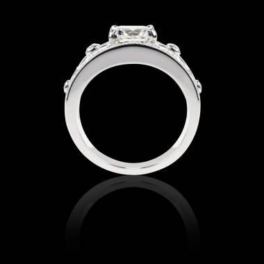 Bague Solitaire diamant forme émeraude pavage diamant or blanc Régina Suprema