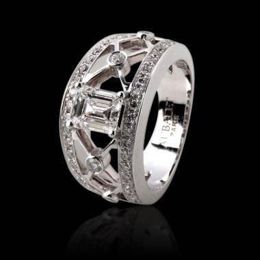 Bague de fiançailles diamant forme émeraude pavage diamant or blanc Régina Suprema
