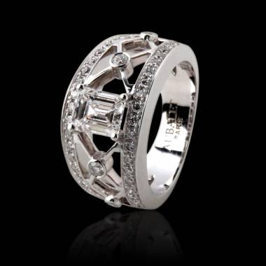Bague diamant forme émeraude pavage diamant or blanc Régina Suprema