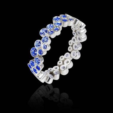 Bague de fiançailles saphir bleu 0,9 carat or blanc Neptune