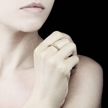 Bague alliance diamant 0,6 carat or jaune Mercure