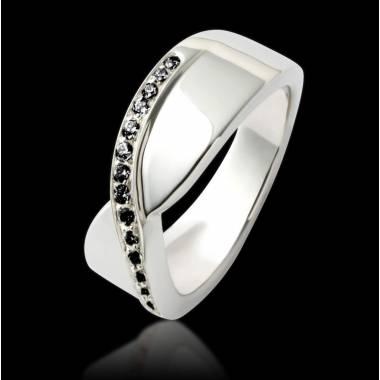 Bague de fiançailles diamant noir or blanc Eternelle