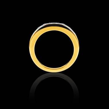 Alliance de mariage pavage diamant 0,6 carat or jaune Deliciae