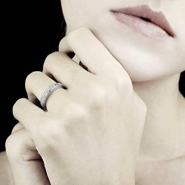 Alliance de mariage pavage diamant 0,7 carat or blanc Deliciae