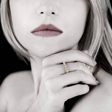 Bague alliance pavage diamant 0,7 carat platine Cassiopa