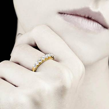 Bague alliance pavage diamant 0,6 carat or jaune Ceres