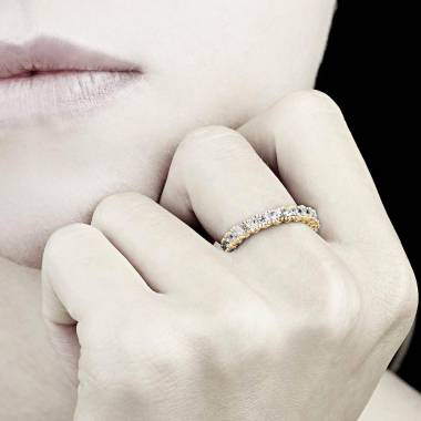 Alliance de mariage pavage diamant 0,6 carat or jaune Jupiter