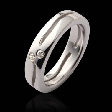 Alliance de mariage pavage diamant 0,7 carat platine Etoiles Filantes