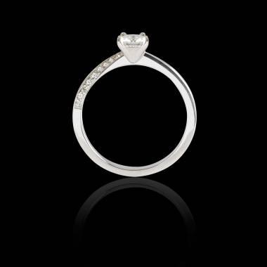 Bague Solitaire diamant pavage diamant or blanc Meryem