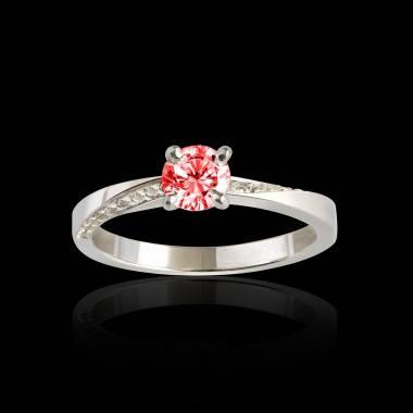 Bague de fiançailles rubis pavage diamant or blanc Meryem