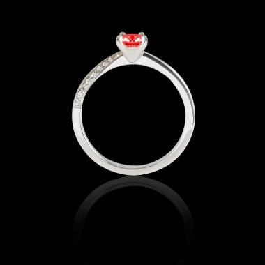 Bague Solitaire rubis pavage diamant or blanc Meryem