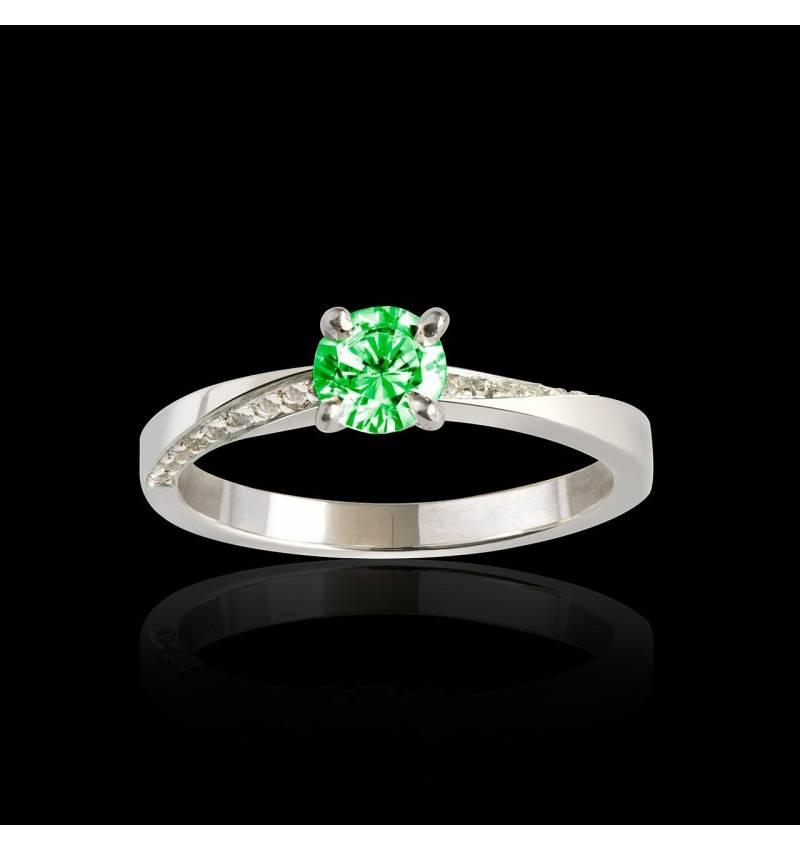 Bague de fiançailles émeraude pavage diamant or blanc Meryem