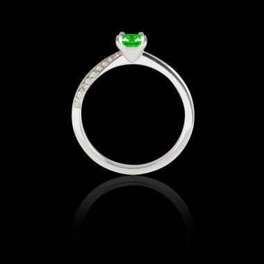 Bague Solitaire émeraude pavage diamant or blanc Meryem