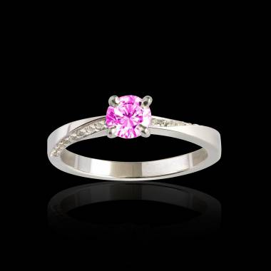 Bague de fiançailles saphir rose pavage diamant or blanc Meryem