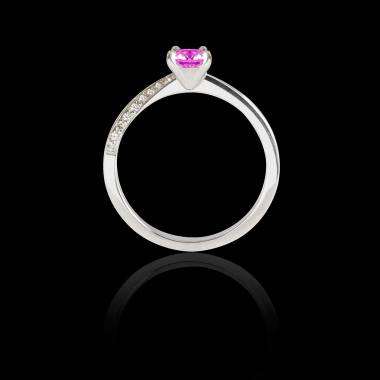 Bague Solitaire saphir rose pavage diamant or blanc Meryem