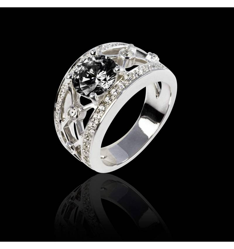 Bague diamant noir forme rond pavage diamant or blanc Regina Suprema