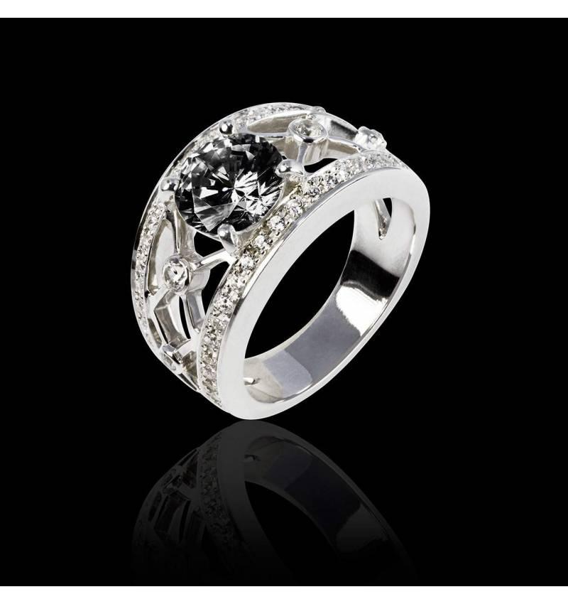 Bague de fiançailles diamant noir forme rond pavage diamant or blanc Régina Suprema
