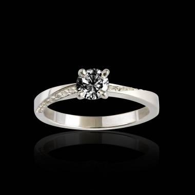Bague de fiançailles diamant noir pavage diamant or blanc Meryem