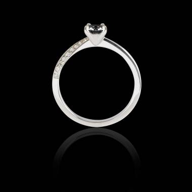 Bague Solitaire diamant noir pavage diamant or blanc Meryem