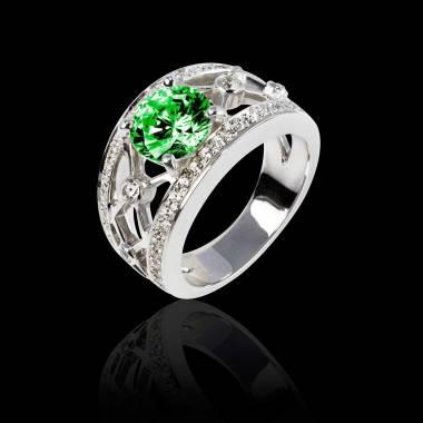 Bague de fiançailles émeraude forme ronde pavage diamant or blanc Régina Suprema