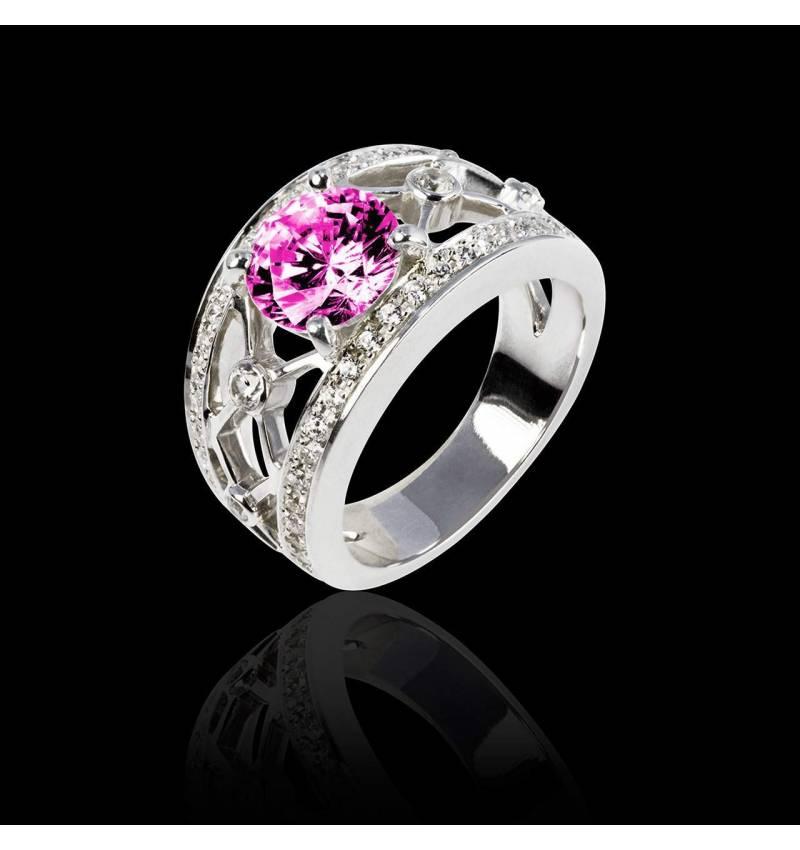 Bague de fiançailles saphir rose forme rond pavage diamant or blanc Régina Suprema
