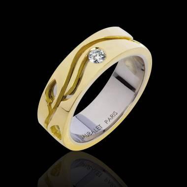 Alliance de mariage en double anneau or jaune et or blanc pavage diamant 0,6 carat Elena