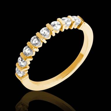 Alliance de mariage pavage diamant 0,6 carat or jaune Xena