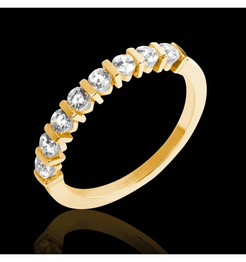 Alliance de mariage pavage diamant 0,6 carat or jaune Xena