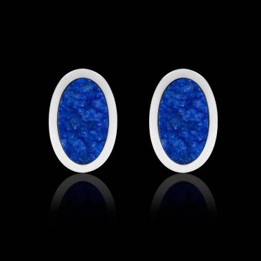 Boutons de manchettes chevalière lapis-lazuli argent palladié Ovum