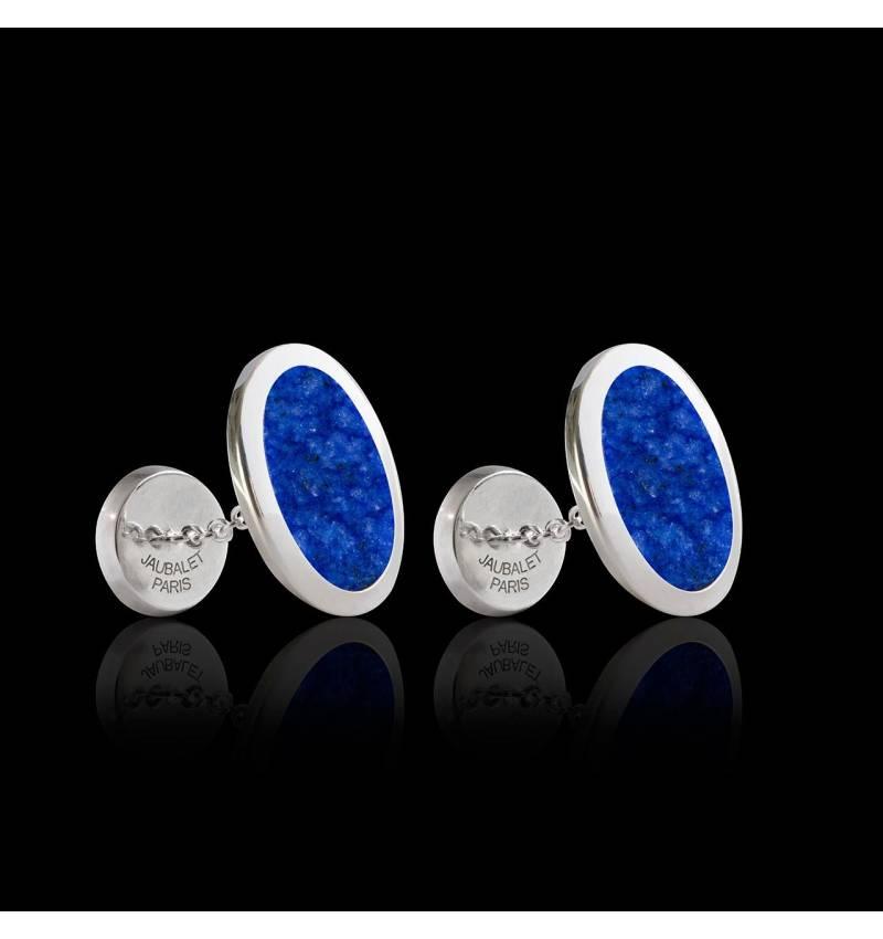 Bouton de manchette chevalière lapis-azuli argent palladié Ovum