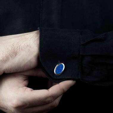 Bouton de manchette chevalière lapis-lazuli argent palladié Ovum