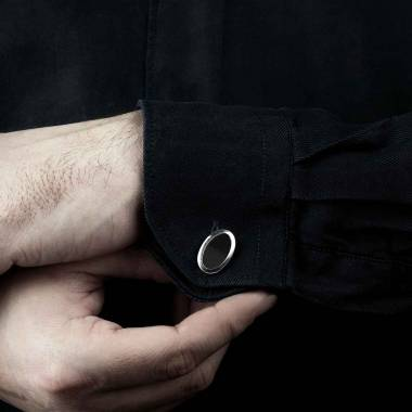 Bouton de manchette chevalière onyx argent palladié Ovum