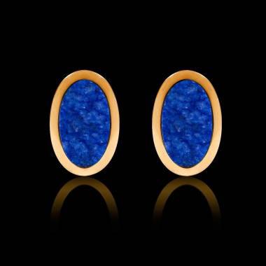 Boutons de manchettes chevalière lapis-lazuli or jaune vermeil 13,4g Ovum
