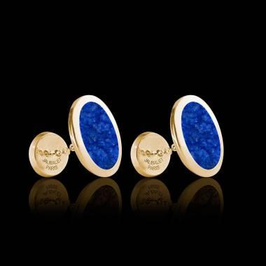 Bouton de manchette chevalière lapis-lazuli or jaune vermeil 13,4g Ovum