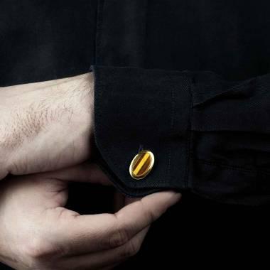 Bouton de manchette chevalière oeil du tigre or jaune vermeil 13,4g Ovum