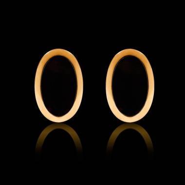 Boutons de manchettes chevalière onyx or jaune vermeil 13,4g Ovum