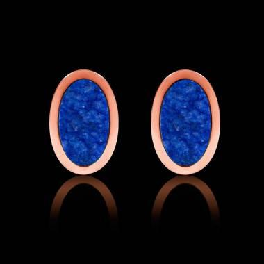 Boutons de manchettes chevalière lapis-lazuli en or rose vermeil 13,4g Ovum