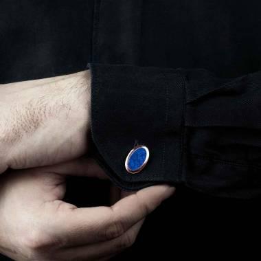Bouton de manchette chevalière lapis-lazuli en or rose vermeil 13,4g Ovum