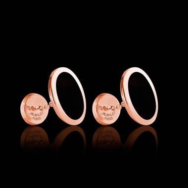 Bouton de manchette chevalière onyx en or rose vermeil 13,4g Ovum