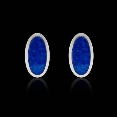 Boutons de manchettes chevalière lapis-lazuli argent palladié Ellipsis