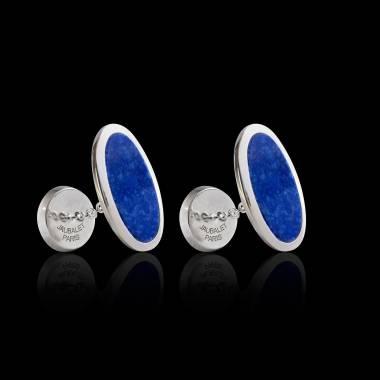 Bouton de manchette chevalière lapis-lazuli argent palladié Ellipsis
