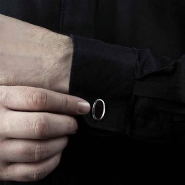 Boutons de manchette chevalière onyx argent palladié Ellipsis