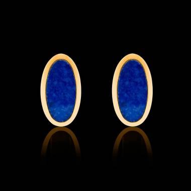 Boutons de manchettes chevalière lapis-lazuli or jaune vermeil 13,4g Ellipsis