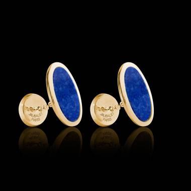 Bouton de manchette chevalière lapis-lazuli or jaune vermeil 13,4g Ellipsis