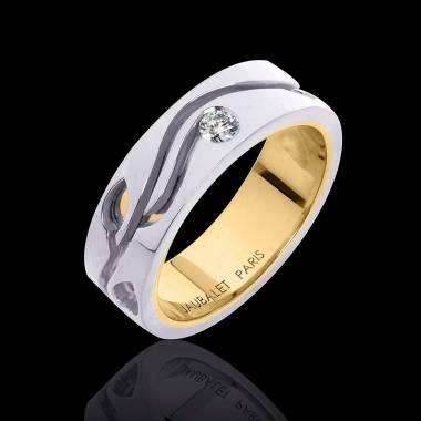 Alliance de mariage en double anneau or blanc et or jaune pavage diamant 0,5 carat Elena