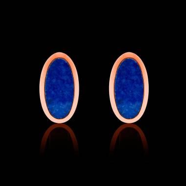Boutons de manchettes chevalière lapis-lazuli en or rose vermeil 13,4g Ellipsis