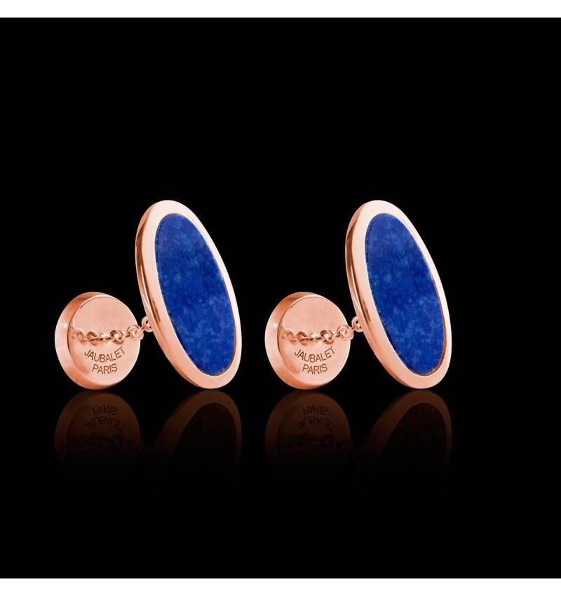 Bouton de manchette chevalière lapis-lazuli en or rose vermeil 13,4g Ellipsis