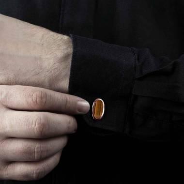 Bouton de manchette chevalière oeil du tigre en or rose vermeil 13,4g Ellipsis
