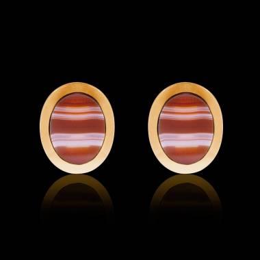 Boutons de manchettes chevalière agathe zonée or jaune vermeil 13,4g Ovalis