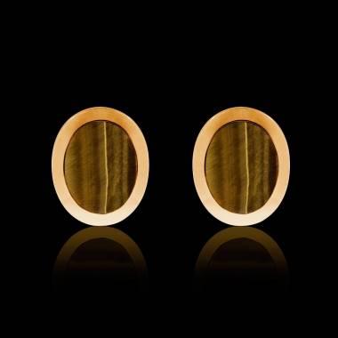 Boutons de manchettes chevalière oeil du tigre or jaune vermeil 13,4g Ovalis